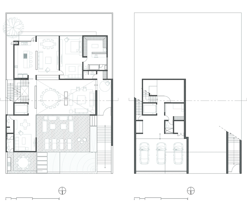 Basement and ground floor plan of Dominant modern mansion by GLR Arquitectos