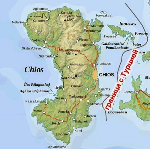 карта острова Хиос, Греция