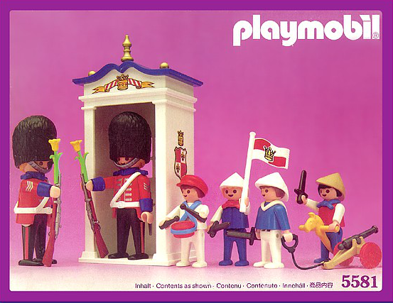 Playmobil guard with rifle and flower