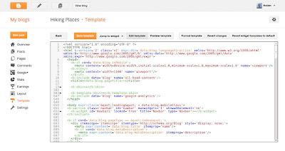 Tampilan pada edit HTML template blogspot yang baru
