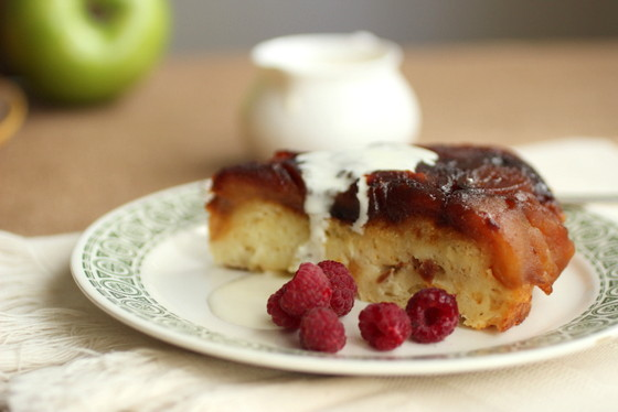 Caramelized Apple Upside Down Bread Pudding