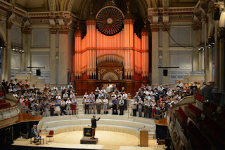Huddersfield Choral Society rehearsing at Huddersfield Town Hall