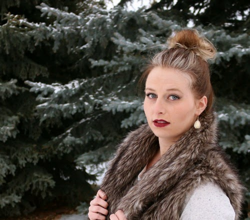 faux fur vest, mason and belle, berry lipstick, mac cosmetics