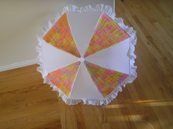white parasol with plaid