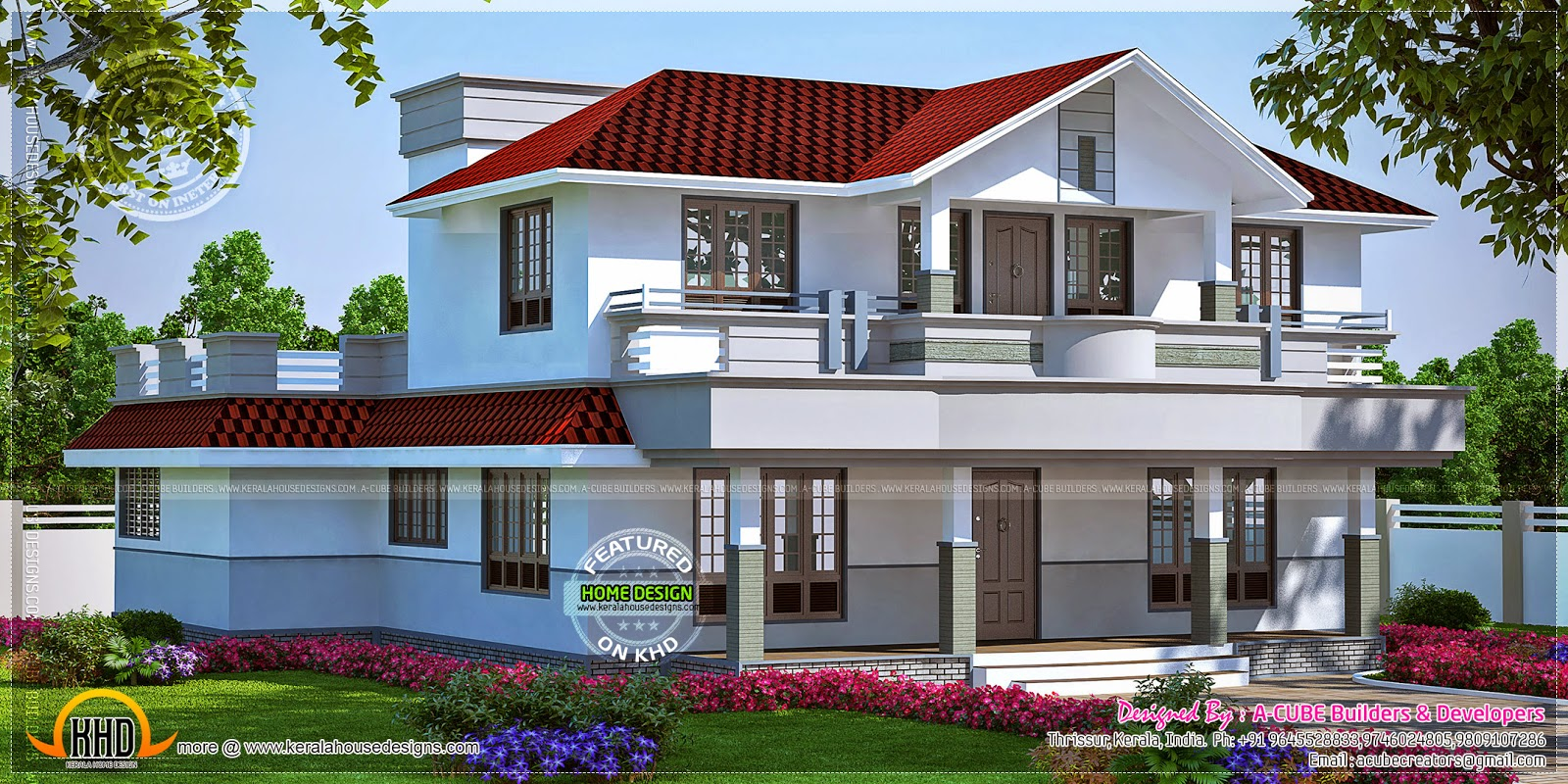 Beautiful home in kerala in 298 square yards kerala home for Beautiful houses and plans