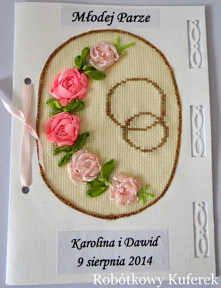 haftowana kartka na ślub