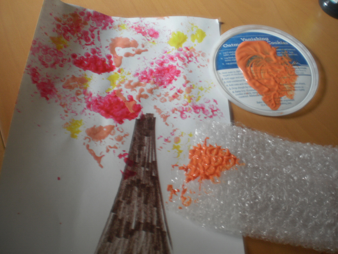 etsykids art project bubble wrap fall tree
