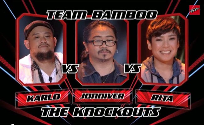 The Voice of the Philippines Season 2 Knock Out Rounds Team Bamboo; Karlo Mojica, Joniver Robles and Rita Martinez