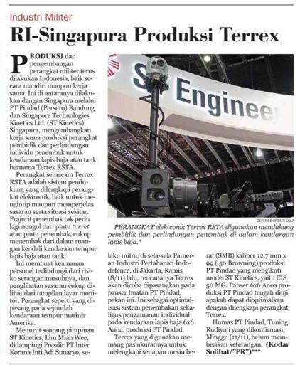 Kliping RI-Singapura Produksi Terrex dari Harian Umum Pikiran Rakyat edisi 12 November