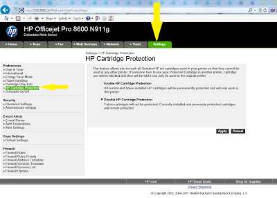 protect HP ink cartridges