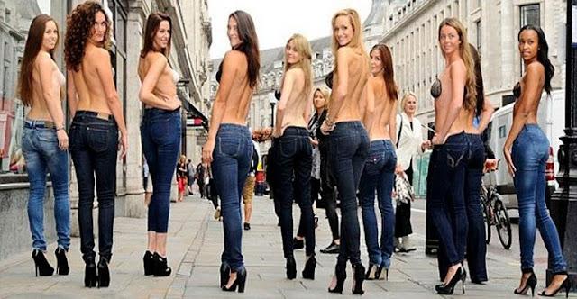 Modelos desfilaram em rua movimentada de Londres usando Sutiãn invisível