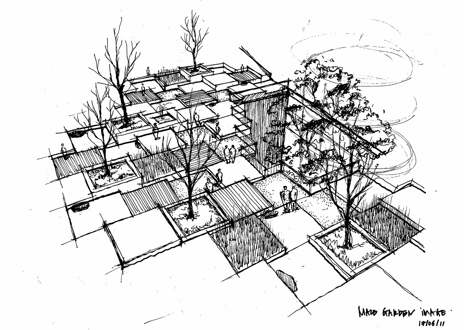 Architecture reinforce space character for Spaces landscape architecture
