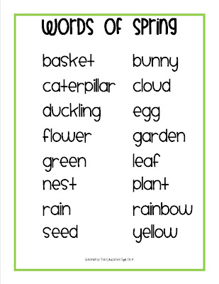 Printable Spring Words