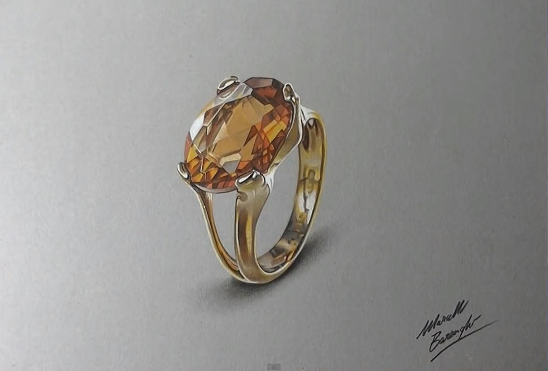Realistic Diamond Ring Drawing