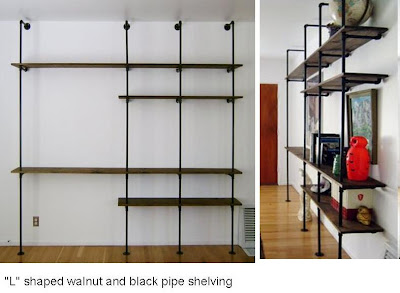 Walnut And Black Pipe Shelving For A Nice And Clean Industrial Look