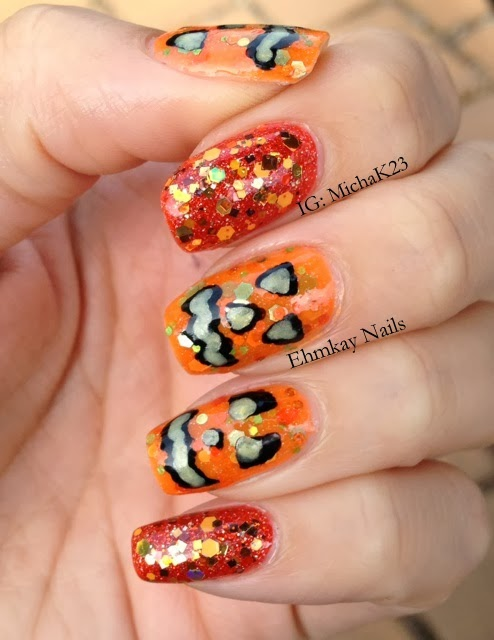 ehmkay nails: Glow in the Dark Jack-O-Lantern Nail Art with Red Dog ...