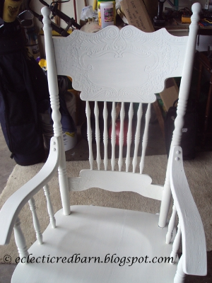 Eclectic Red Barn: Rescued rocking chair painted vintage white