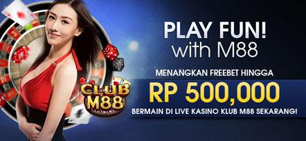 Bonus Freebet Live Kasino 500 ribu di M88