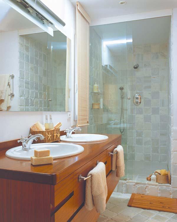 Baños Rusticos Bonitos:Neste o piso rústico aplicado na diagonal é o mesmo que compõe o