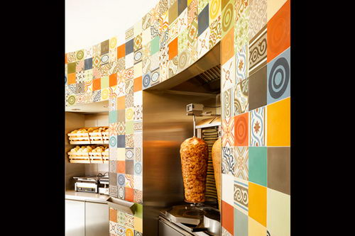 The Doner Company Retail Wall Design Idea, small store design, unique store design, lively store design, kebab store design, doner store design, interior design, interior, retail store design, retail design, store design, fast food store design