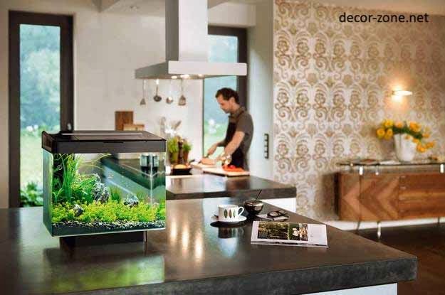 kitchen aquarium in the interior, kitchen decorating ideas