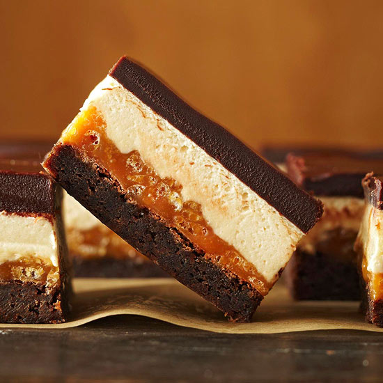 first comes the brownie layer then the crunchy caramel layer next up ...