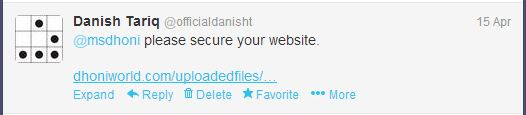 MS Dhoni Patched his Site after my Tweet by Danish Tariq