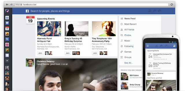 Facebook news feed new design