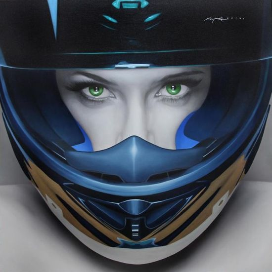 Juan Carlos Manjarrez hyper-realistic paintings portraits black and white Blue helmet