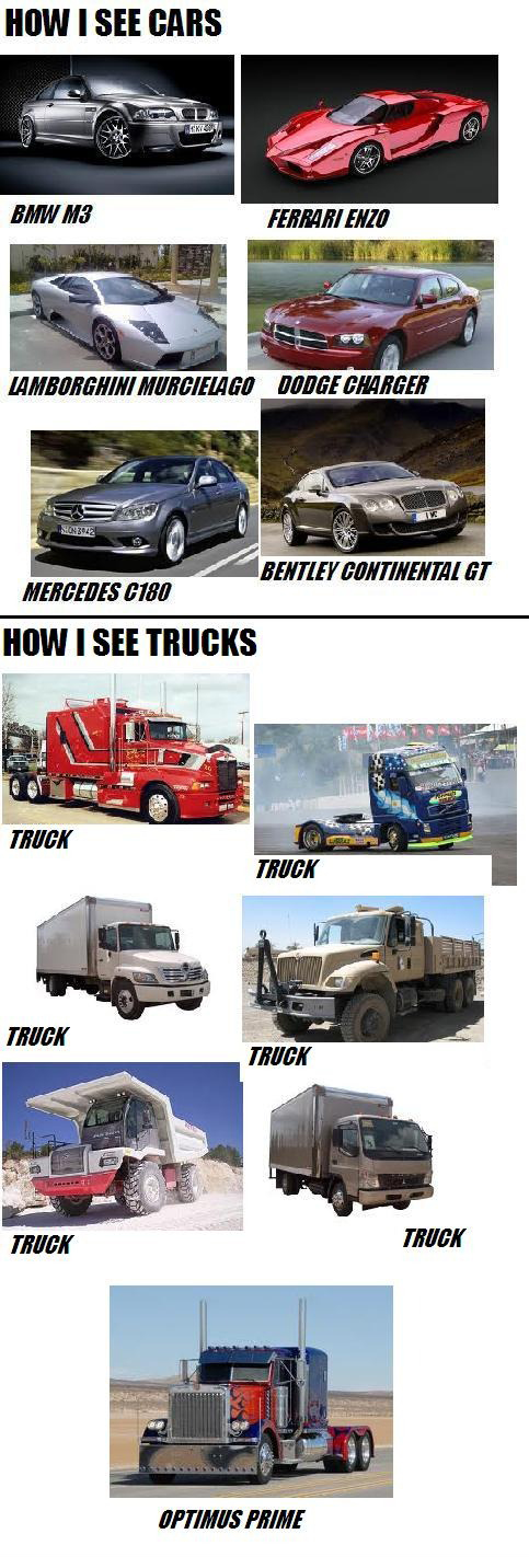 How I See Cars vs. How I See Trucks