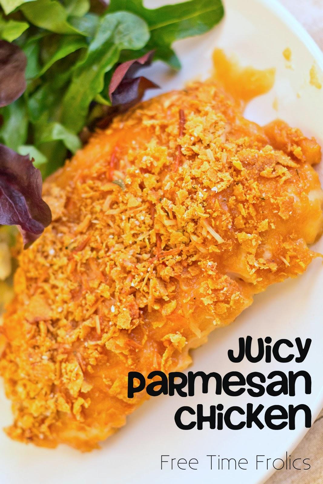juicy parmesan chicken www.freetimefrolics.com #recipe #chicken