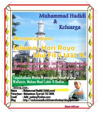 Selamat Hari Raya Idul Fitri 1433 H.