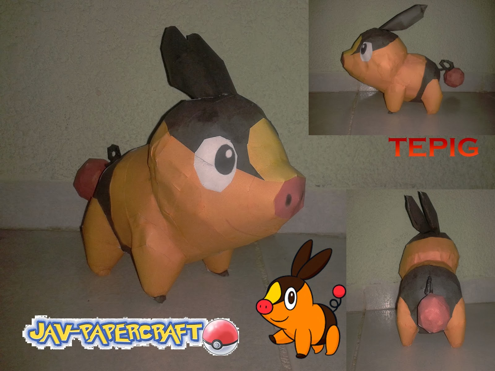 Pokemon Tepig Papercraft
