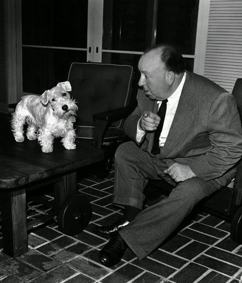 Alfred Hitchcock and dog.