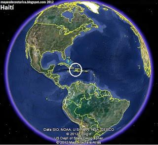 Mapa de Haití en El mundo, Google Earth