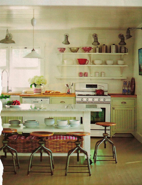 Hints Of Red Really Pull In The Feel Of A 1950s Farm Town Kitchen