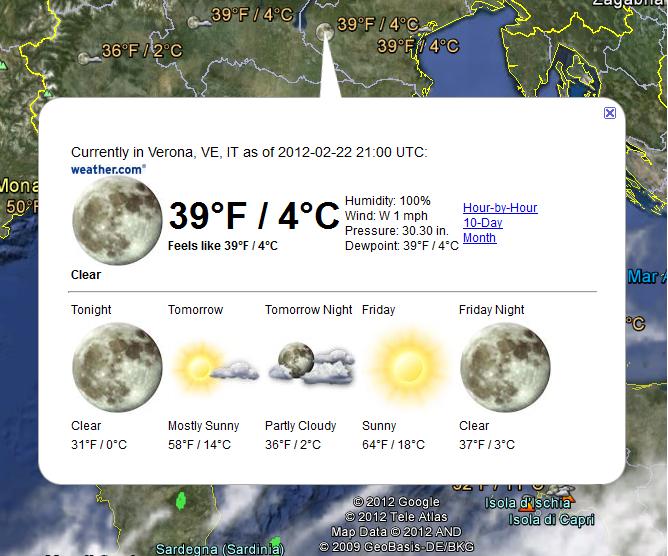 Condizioni e previsioni meteorologiche