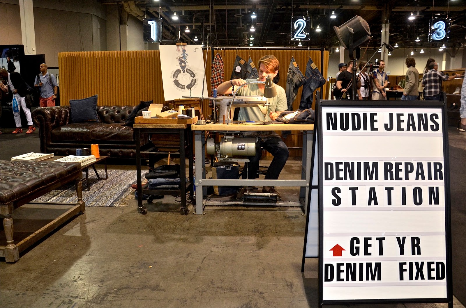 One of many repair stations at the recent Liberty Trade show. Nudie Jeans. 0d58964cfa3c