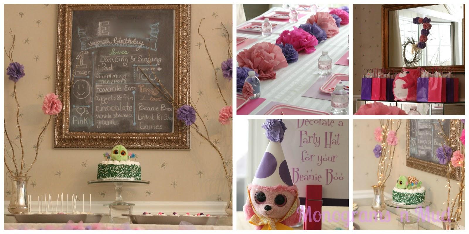 Monograms n Mud Belles Pink Purple Beanie Boo Birthday