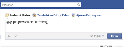 Tag Profil dan Thumbnail Foto untuk Update Status Facebook