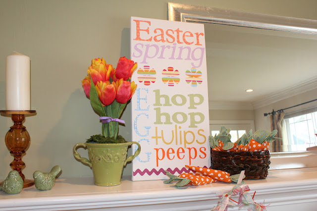 easter, mantel, subway sign, carrots, tulips