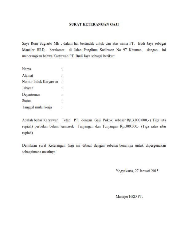 Contoh Surat Keterangan Gaji