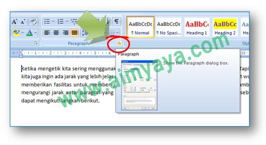 Gambar: Cara menampilkan dialog Paragraph di Microsoft Word 2007
