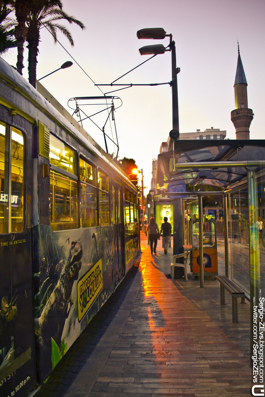 Tram, sunset, minaret, mosque, Turkey, Atatürk Boulevard