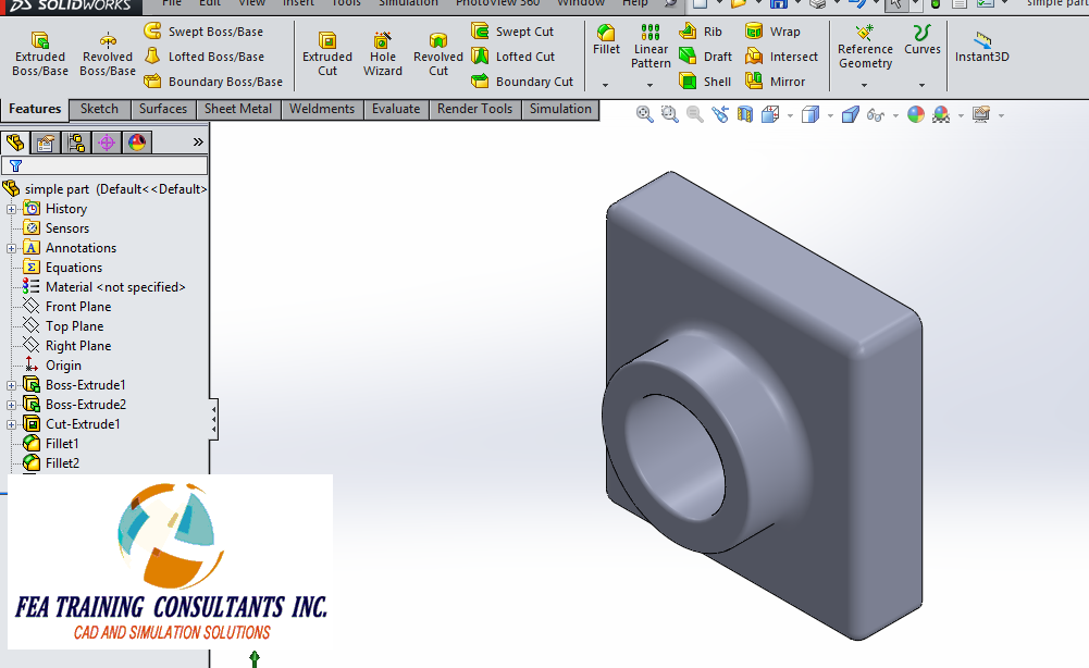 Part Description Solidworks Part Dimensions in Solidworks