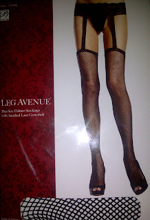 Plus Size Fishnet Stockings with Attached Lace Garterbelt