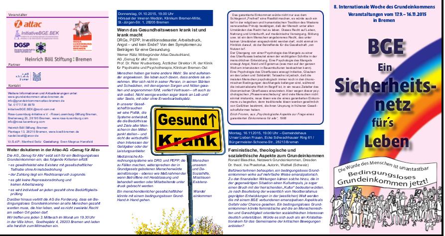 Flyer 8. Internationale Woche des Grundeinkommens in Bremen