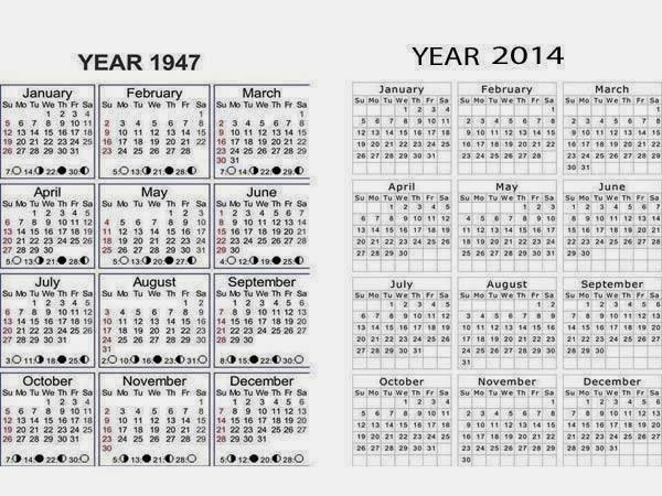 New Year 2014 & New Year 1947 Calendars