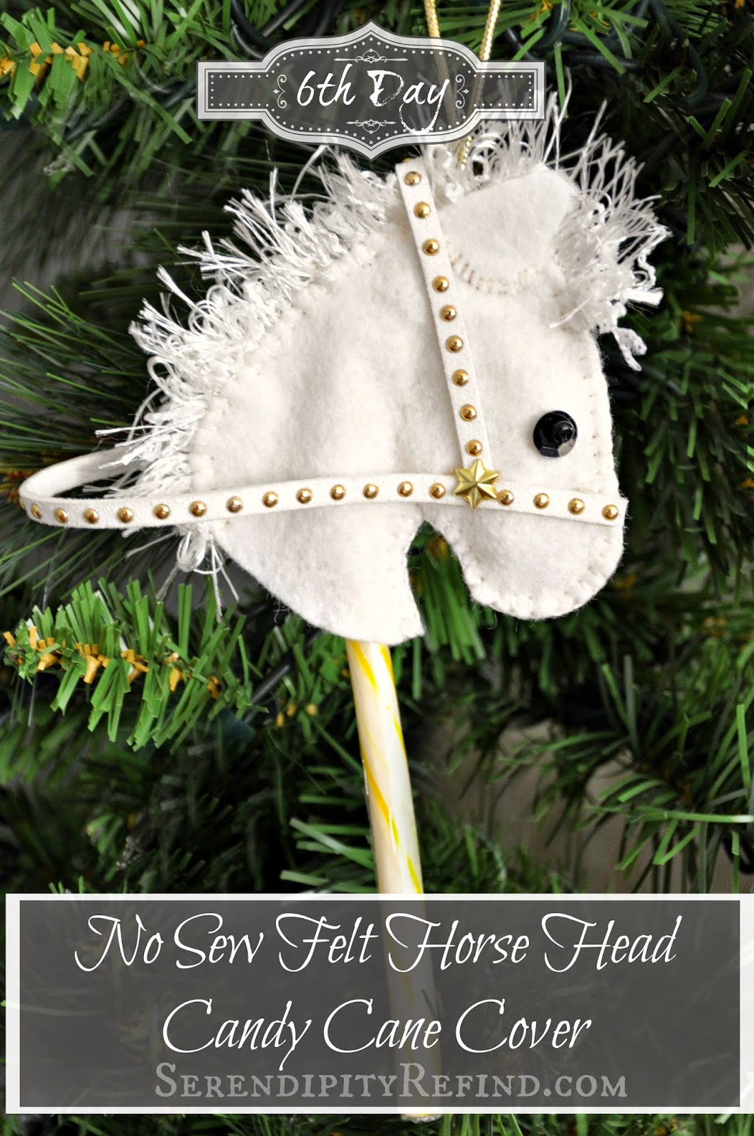 Serendipity Refined Blog: No Sew Felt Horse Head Candy Cane Cover ...