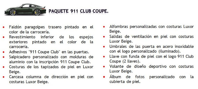 Paquete Porsche 911 Club Coupé